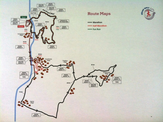 the race map showing the balance of tough wall section, only about 25% and then the faster road running through the local villages and hutongs...