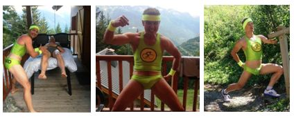 "Ben, Mark and Rich enthusiastically modeling the ""Go Hard"" Lime green Tri kit."